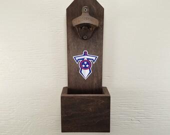 Wall Mounted Bottle Opener, Tennessee Titans, Bottle Cap Catcher, Football