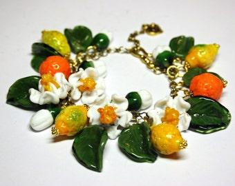 Handmade  fruit lampwork bracelet with murano glass booming lemons and oranges, glass fruit bracelet, chain bracelet
