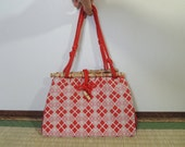 Japanese vintage bag, Bamboo, Vermilion