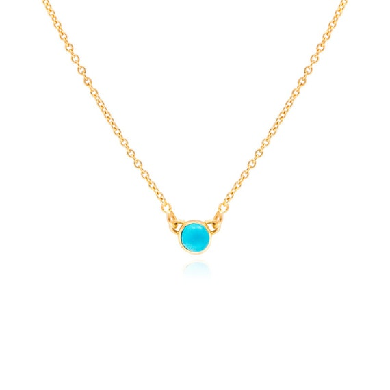 Turquoise Necklace December Birthstone Necklace 14K Solid