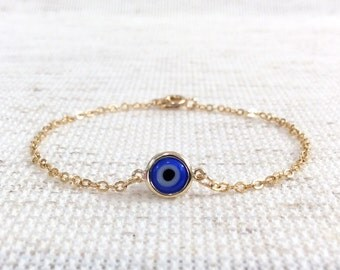 Gold Evil Eye Bracelet Evil Eye bracelet Protection Bracelet Eye Amulet Turkish eye kabbalah Greek Mati Mal de Ojo Lucky Eye Bracelet