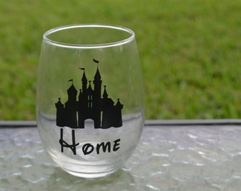 Disney Home stemless wine glass, Disney wine glass, Disney Side, Disney Wedding, Disney Gift,Disney Castle wine glass, Home is Where Mickey