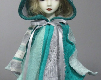 MSD capelet in greens and silvers