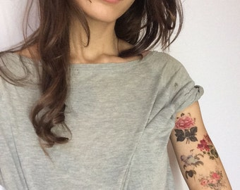 Floral temporary tattoo. 5 victorian flower tattoos. Liquiskin