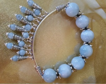Handmade Beautiful Vintage Streatch Blue AUQUAMARINE BRACELET