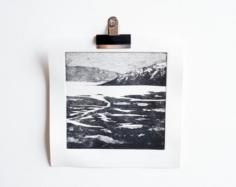 Sgitheanach I ~ etching, handmade, print, printmaking, landscape, mountains, sea, Scotland, abstract, texture, monochrome