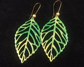 Enamel & Copper Filigree Earrings - Green and Gold Enamel Drop Earrings - Enameled Copper Leaf Earrings - Handmade by Adrift Crafts