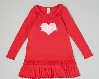 Valentine's Dress.  Girls Personalized Valentine's Dress.  Cute Heart Dress.   Infant, Toddler & Girls