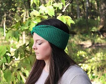 Green Headband, Green Earwarmers, Green Crochet Headband, Green Knit Headband, Green Winter Headband, Green Earmuffs, THE MCKENZIE