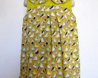 Birdie dress, Girl dress, Summer dress, Play dress, Peter pan collar dress, Spring dress, Sleeveless dress