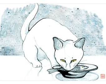 White cat print / Yellow eyed cat art / Eating cat cute illustration