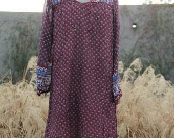 vintage indian cotton gauze dress floral blue, cream and burgundy