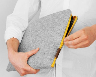 FELT LAPTOP SLEEVE 01 yellow zipper gray felt laptop cover corner zipper macbook air all sizes 15' laptop