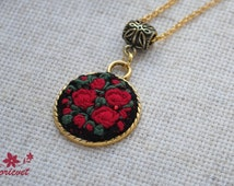 Red roses necklace Christmas gift Embroidered pendant Red black pendant Gift for women Rose jewellery Hand embroidery Retro style jewelry