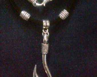 Gone Fishin Retro Country FishHook Leather Necklace
