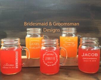 Set of 12 Bridesmaid Mason Jars, 12 Groomsmen and Bridesmaid Mason Jars, Wedding Mason Jar Set, Bridesmaid Gifts, Bridal, EngravedHappyism