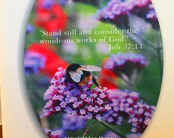 Greeting Card - Flowers with Bee Job 37:14 quote