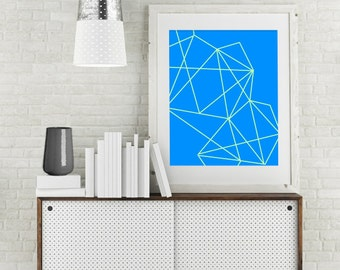 "Modern Wall Art, Line Art, Geo Print, Abstract Art, Geometric Art, Mint Art, Blue Art, Colorful Art, Bright Art Print, Green, ""Mint Geo"""