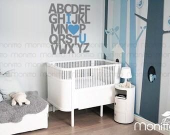 ABC I Love You Alphabet minimalist Wall Decal, Kids room Wall Decal, Nursery Wall Stickers, Playroom Decal, Bedroom Wall Stickers [MT033]