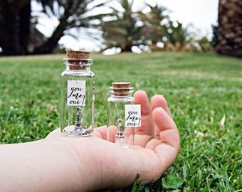 You Me Oui! Paris love. Tiny message in a bottle. Miniatures. Personalised Gift. Funny Love Card. Valentine Card. Special greeting card.