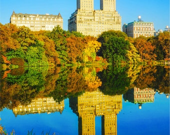 Central Park Print, New York Photography, NYC Autumn, Wall Art, New York City Skyline, Art Forever Moore - San Remo Towers from Central Park
