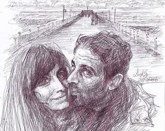 Couple's Drawing, Couple Portrait, Custom Portrait, Custom Pen Portrait, Custom Drawing, Anniversary Gift, Wedding Gift, Wife Gift, Husband