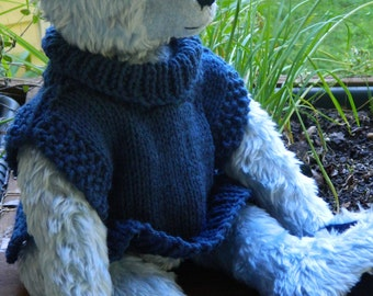 Hand made Blue bear with Hand Knit sweater