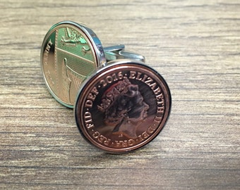 2016 one penny coin cufflinks - wedding gift - gift for men