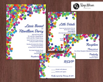 Polka Dot Suite - Printable wedding invitations - personalized wedding invitation set