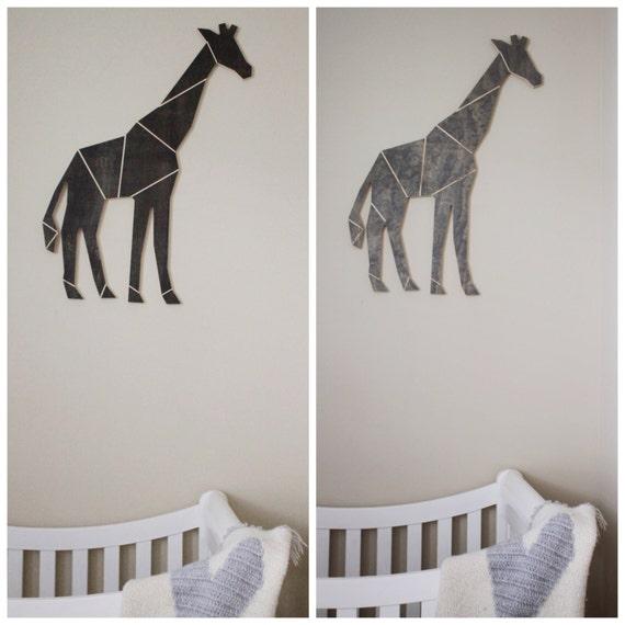 Wood Engraved Geometric Lined Giraffe Wall Home Decor