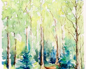 """Original Watercolour - Free shipping """"The path in spring"""" (wood green leaves forest trees hiking bird season freshness)"""