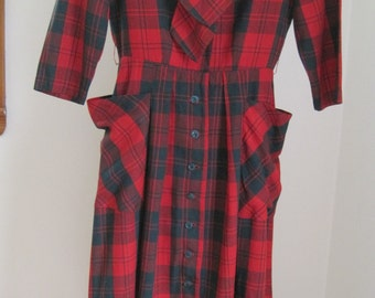 JohnnyE Vintage Dress, Red & Green Plaid Cotton Dress