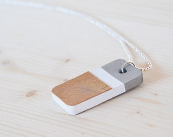 betonCUBOID holzfurnier-concrete pendant on silver chain, unique, minimalistic, necklace, chain, concrete, grey, elegant design