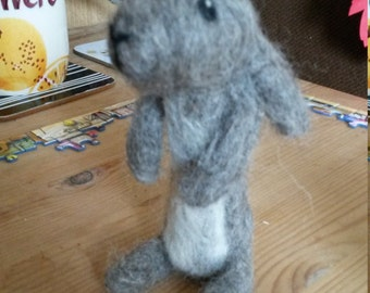 Jack Rabbit needle felted ornament