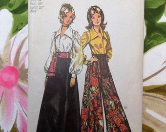 1971 Simplicity Pattern 5235 ~ Misses Blouse, Skirt, Pantskirt and Sash ~ Vintage size 14