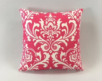 Candy Pink Damask Pillow Cover - Ozborne Candy Pink/White Print - Pink Accent Pillow - Designer Pillow Cover - Hidden Zipper - Custom Sizes