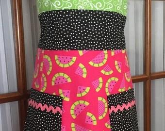 Watermelon Apron in Retro Style - Summertime Party Apron - Polka Dot Apron