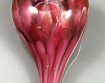 Lampwork-Focal-Heart-Pink Dichro encased with Rubino Pink and Baby Pink Petals