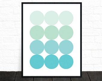 Circle Art, Geometric Print, Circle Wall Art, Scandinavian Art, Printable Art, Minimalist Art, Blue Circles, Green Wall Art, Mint, Turquoise