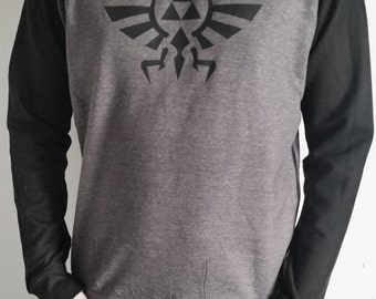 Legend of Zelda Hyrule Black on Grey printed men's baseball sweatshirt. subtle/alternative geek
