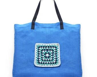 Linen tote, beach bag, market bag .
