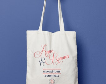 Tote Bag personalized wedding - Marin / / Wedding guest gift