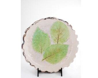 Raku ceramic bowl white with green leaves/home furnishings//fruit bowl Centerpiece