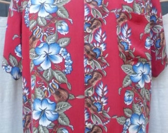 L VINTAGE AQUA BLUE Hawaiin Shirt 0117