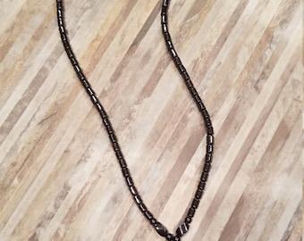 Hematite Necklace with Cross Hematite Pendant