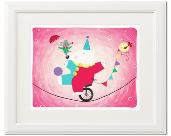 Polar bear in the circus -Digital download-Art print-Instant download-Drawing-Illustration-Pink-Wall decor-Poster