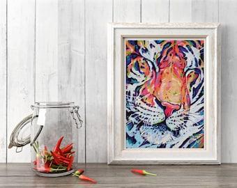 Tiger Art Print, Tiger Decor, Tiger gift idea, Tiger painting, Cat art, Tiger wall art, Abstract Tiger, Tiger, Jungle art print