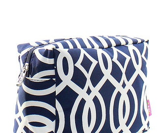 Monogrammed Navy Vine Cosmetic Bag -Personalized Gift-Monogram Cosmetic-Personalized Cosmetic Bag