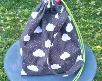 Rain Clouds Toddler Kid Triangle Drawstring Toy Tote Bag, Shoulder Bag, Toy Tote, Gift Bag, Tote, Bag, Grey, Clouds, Birthday- Ready to Ship