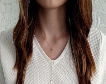 Y Necklace/ Gold Filled Y Necklace/ Y Lariat Necklace/ Long Necklace